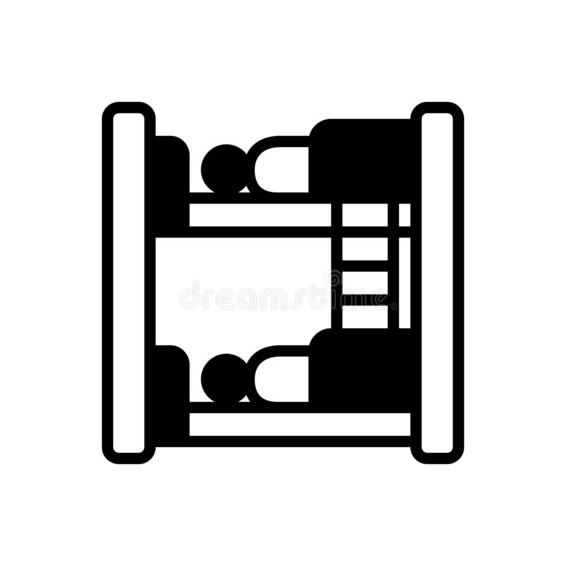 Black solid icon for Hostel, dormitory and dorm. Black solid icon for Hostel, bedroom, dormer, hotel,  dormitory and dorm vector illustration