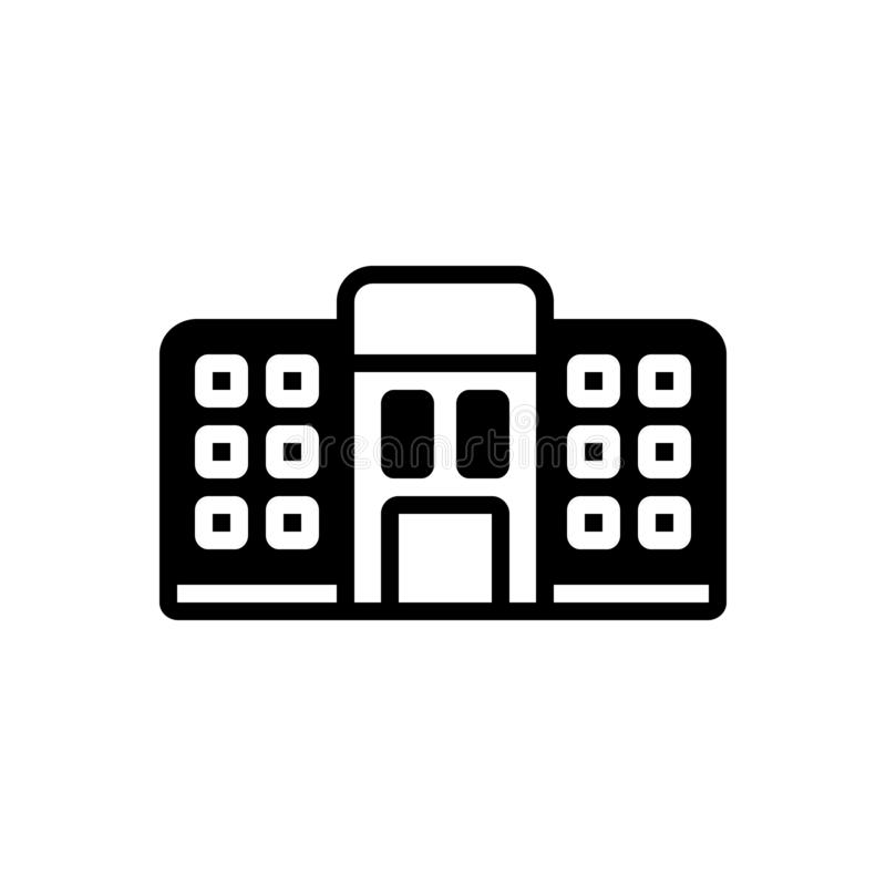 Black solid icon for Hostel, dormitory and dorm. Black solid icon for Hostel, bedroom, dormer, tourism, room,  dormitory and dorm stock illustration