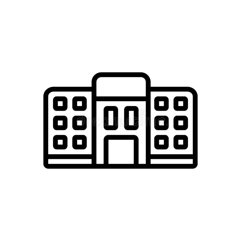 Black line icon for Hostel, dormitory and dorm. Black line icon for Hostel, bedroom, dormer, tourism, residential, room,  dormitory and dorm royalty free illustration