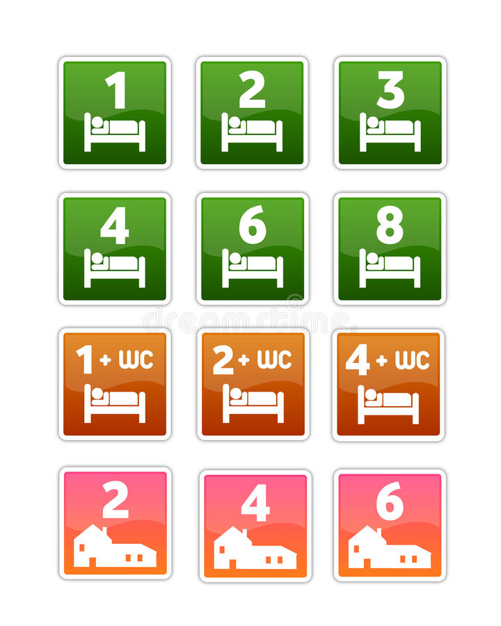 Hostel Icons For Accommodations Royalty Free Stock Photos