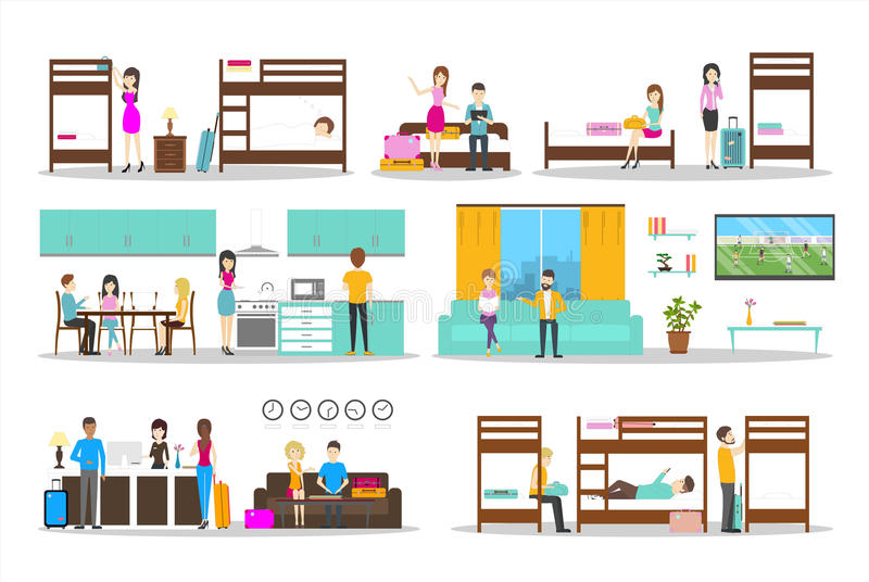 Hostel inside set. Rooms and kitchen and visitors. Cheap hotel stock illustration