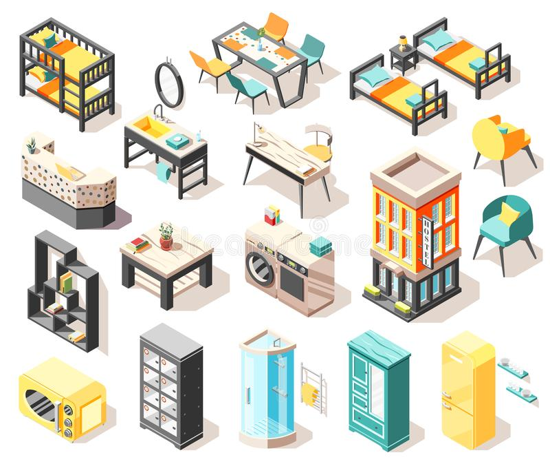 Hostel Isometric Icons Set. Travel isometric icons set with hostel building and elements of internal interior furniture and accessories isolated vector stock illustration
