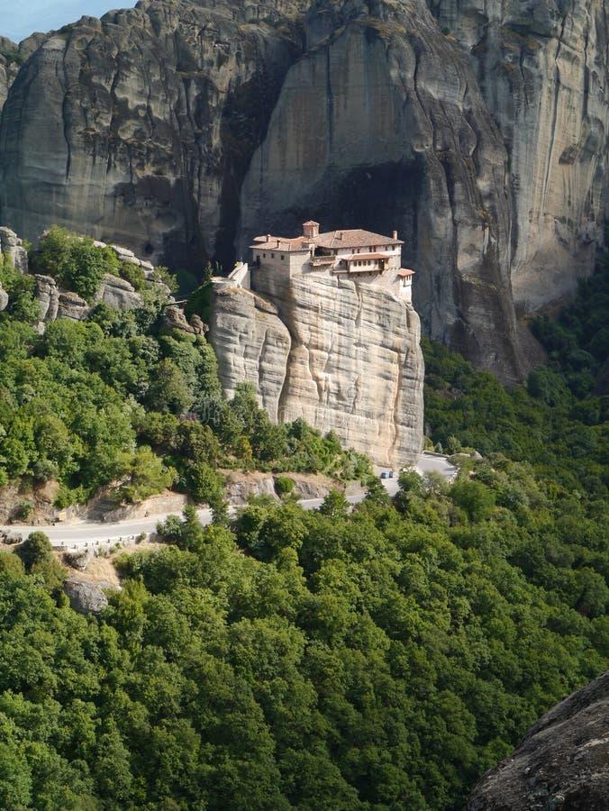 Hostel Meteora in Trikala city , Meteora , Greece. Showing road and valley beneath stock photos