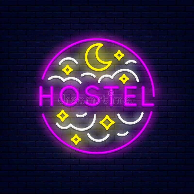 Hostel neon banner. Hostel colorful neon banner at brick wall. Month, stars and clouds. Element for presentations, flyers, leaflets, posters or postcards. Vector stock illustration