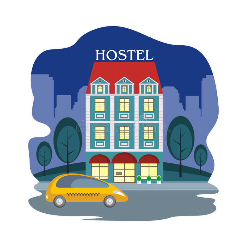 Hostel and night city. Hostel in the historical center of large European cities. Vector illustration royalty free illustration
