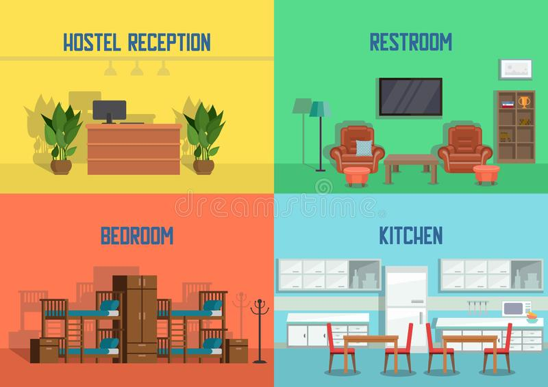 Hostel and Real Estate Service. Vector. Hostel and Real Estate Service. Hostel Reception, Restroom, Bedroom, Kitchen. Real Estate Agency Concept. Apartment stock illustration