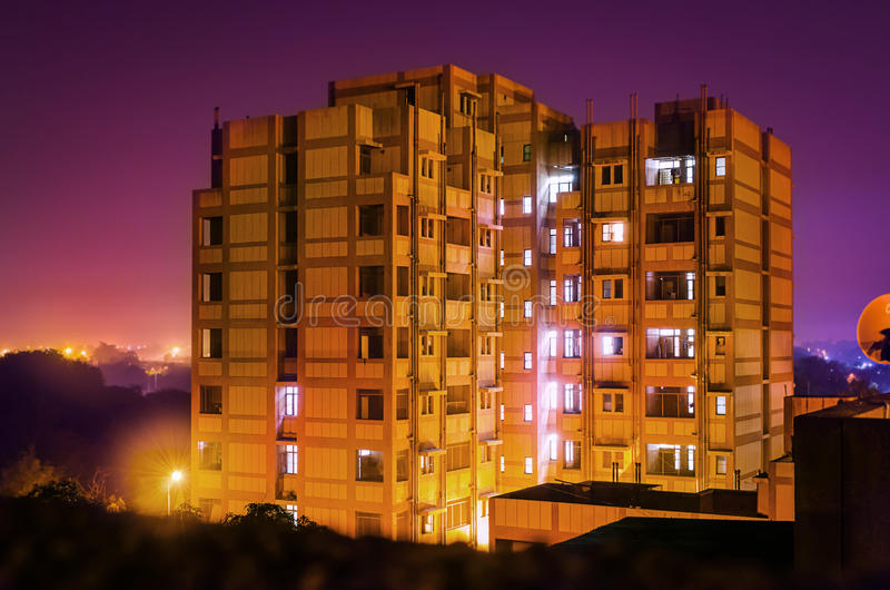 Hostel or residence building at night