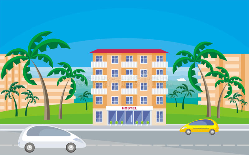 Hostel in the resort town. The image of hostel in a seaside resort in an environment of tropical plants. Vector background vector illustration