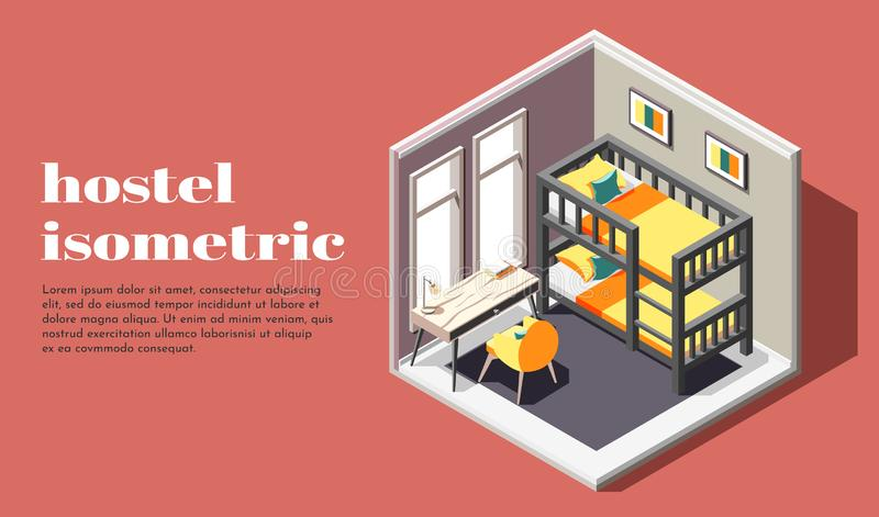 Hostel Room Isometric Poster. Hostel room of economy class isometric poster with bunk bed table and chair vector illustration stock illustration