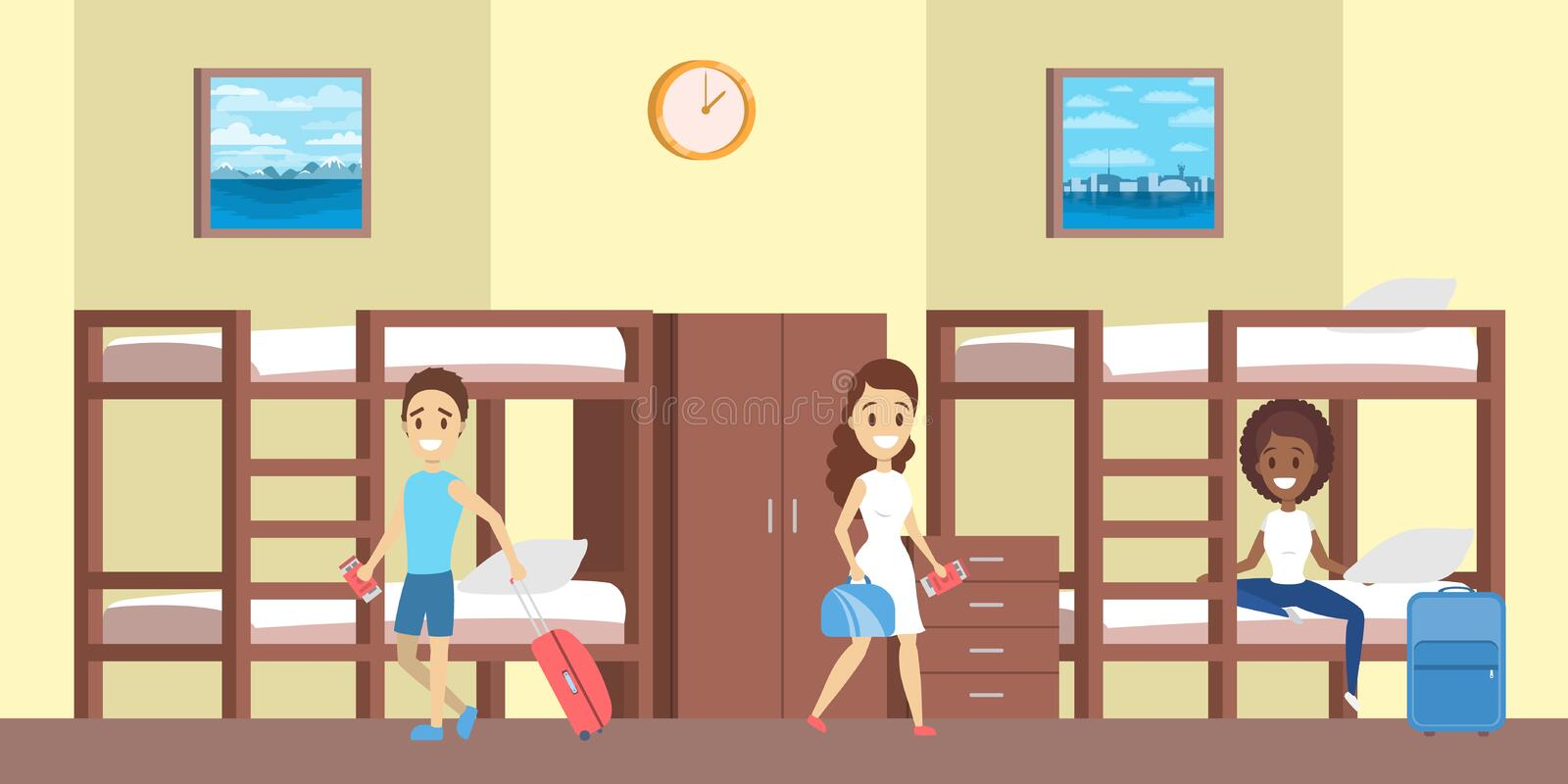 Hostel room interior with people inside illustration. Hostel room interior with people inside. People sitting on the bed with baggage. Cheap accomodation. Flat royalty free illustration