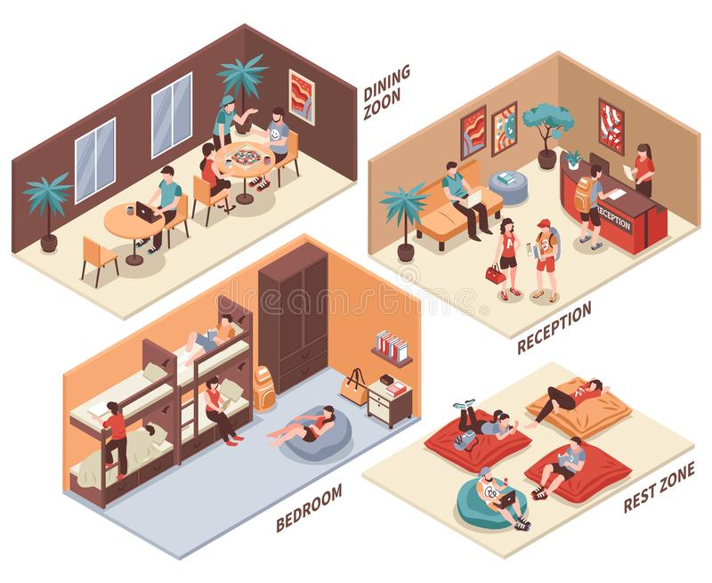 Hostel Rooms Isometric Set. Hostel rooms with guests isometric set with dining hall, reception, bedroom, rest zone isolated vector illustration royalty free illustration