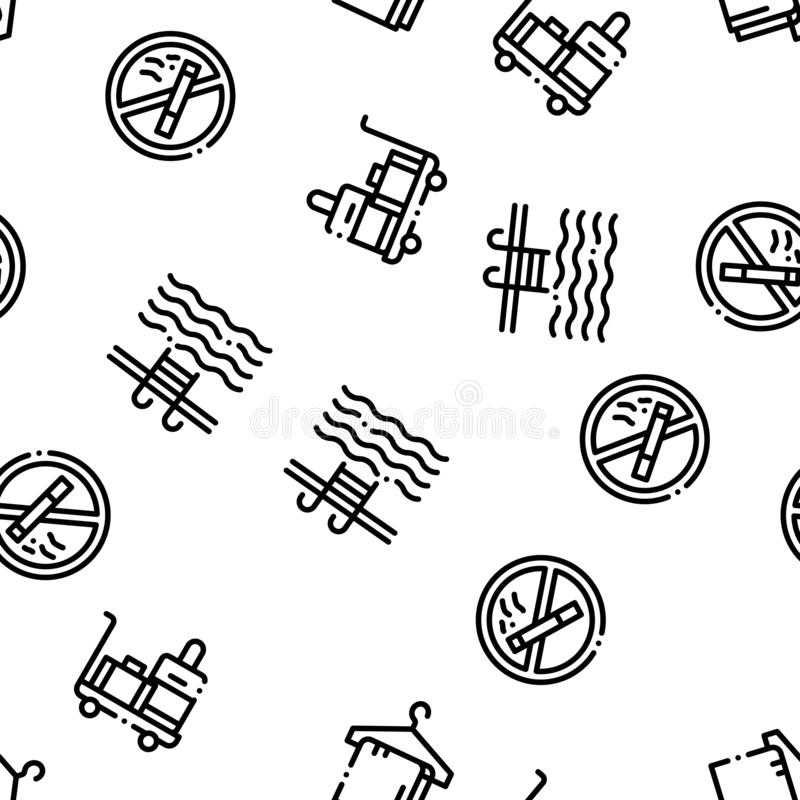 Hostel Seamless Pattern Vector. Building Hostel And Location, Calendar And Parking Symbol, Bed And Laundry Machine Linear Pictograms. Wifi Internet vector illustration