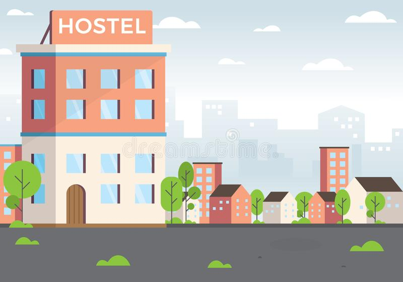 Hostel vector illustration. Budget low cost travel, Vacation graphic design elements. Exterior Hostel for Tourist. Cheap Place for Living or one Night stock illustration
