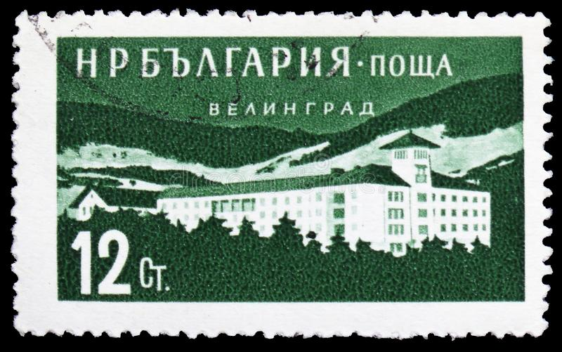 Hostel at Yelingrad, Bulgarian Recreation Facilities and Places serie, circa 1958. MOSCOW, RUSSIA - MARCH 23, 2019: Postage stamp printed in Bulgaria shows stock photography