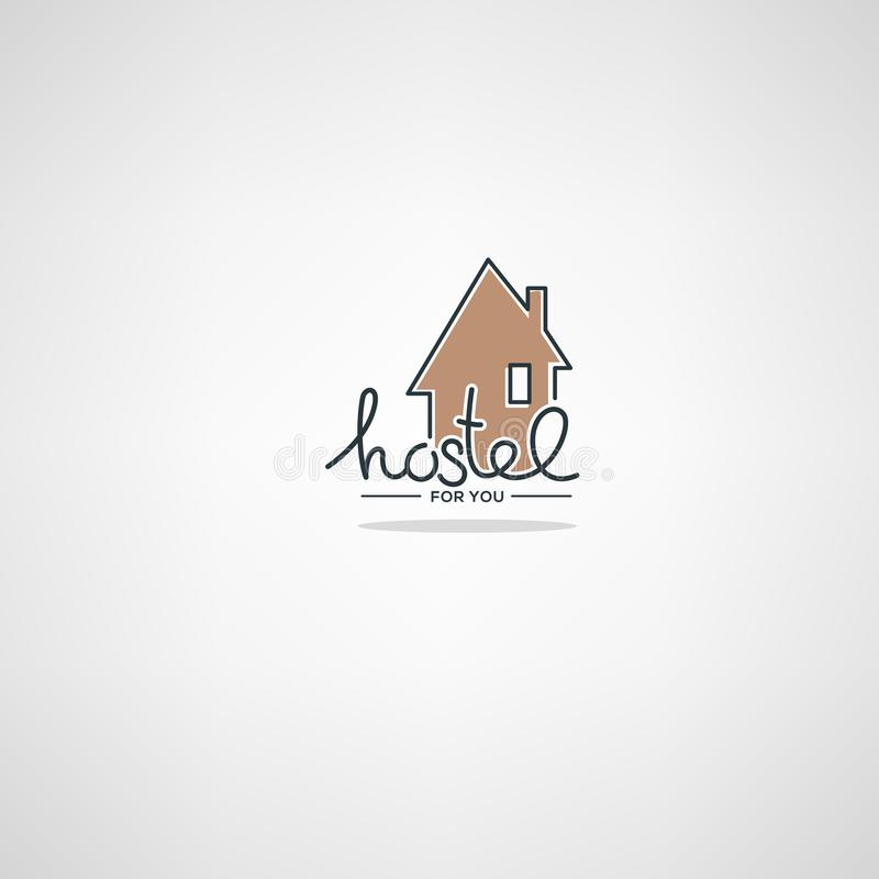 Hostel For You. Logo template in doodle style royalty free illustration
