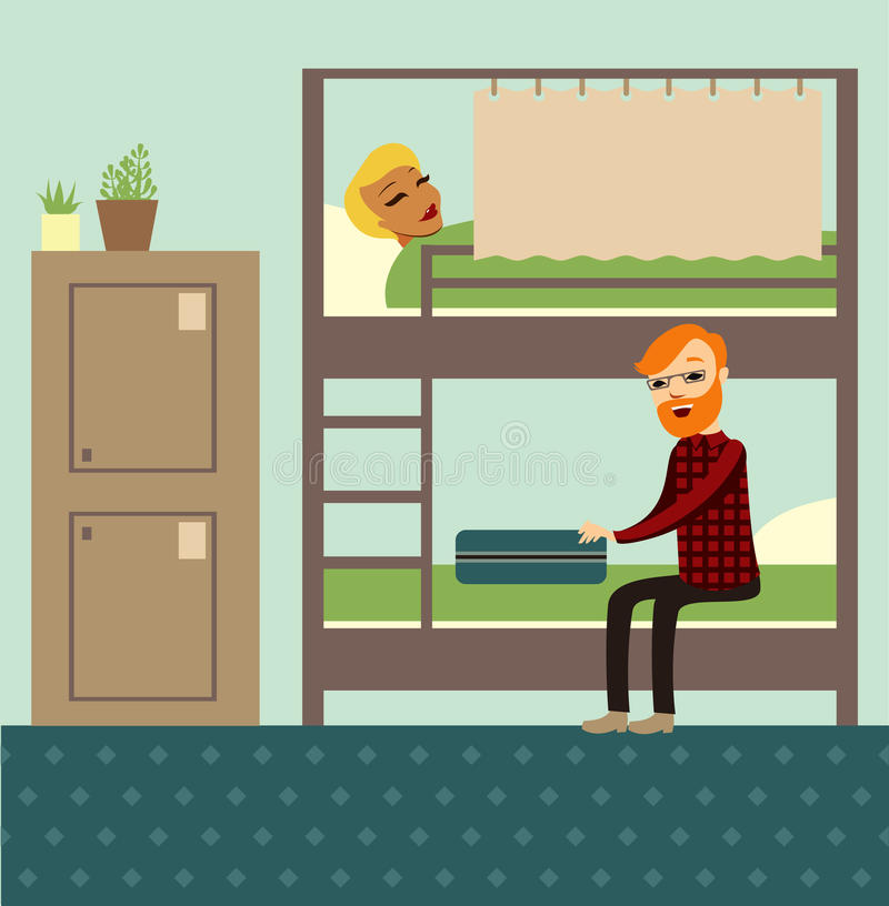 Hostel. Young couple in comfortable youth hostel stock illustration