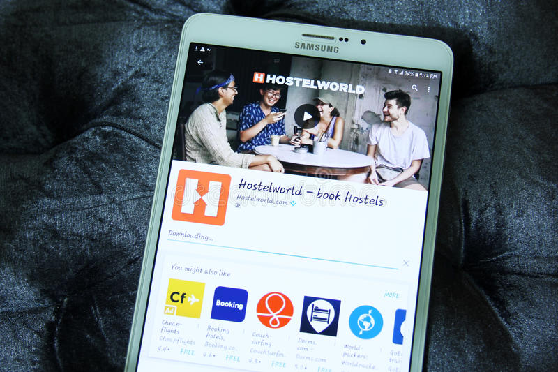 Hostelworld app royalty-vrije stock fotografie