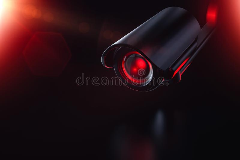 Hostile looking recording device. Society under control of AI artificial intelligence. Obey, pay taxes, reproduce or face. Consequences. 3D render stock illustration