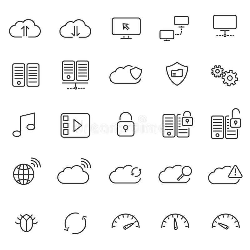 Hosting cloud and wireless network icons royalty free illustration