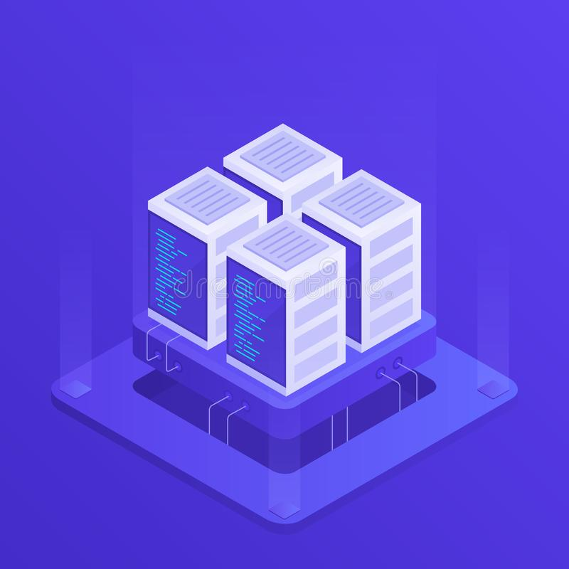 Hosting concept with cloud data storage and server room. Server rack. Modern Vector illustration in Isometric style.  stock illustration