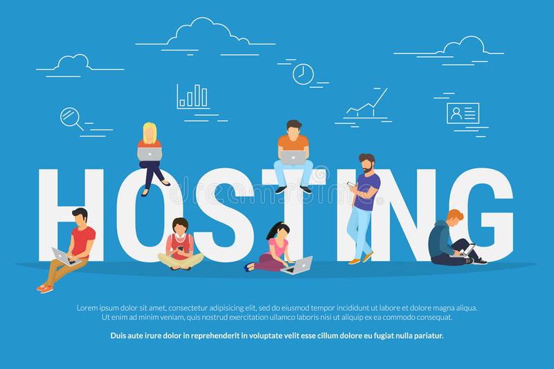 Hosting concept vector illustration of young people using laptops for internet and working in web. Flat design for webhost servers and data storage with young stock illustration