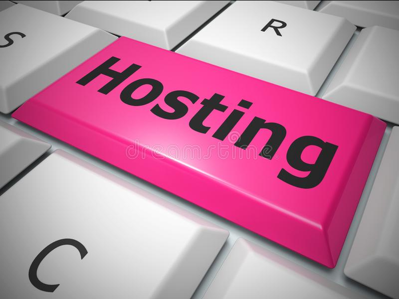 Hosting Concepts icon means web host or internet site - 3d illustration. Hosting Concepts icon means web host or internet site. Connectivity to a datacenter for royalty free illustration
