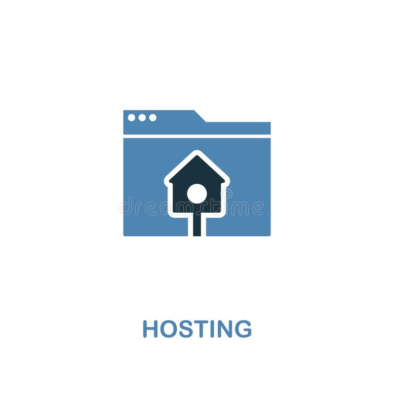 Hosting creative icon in two colors. Premium style design from web development icons collection. Hosting icon for web design, mobi. Le apps and printing usage royalty free illustration