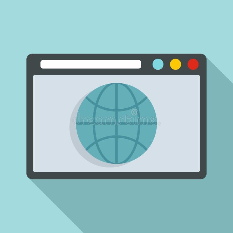 Hosting domain icon, flat style stock illustration