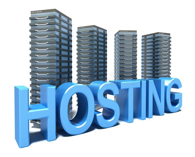 Hosting in front of grey Servers stock illustration