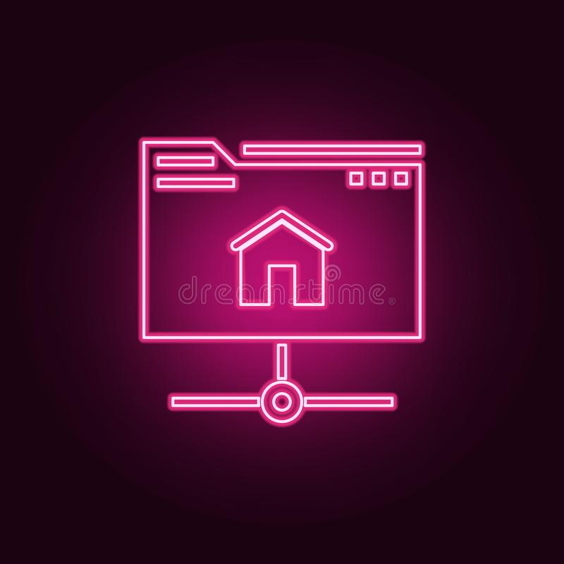 Hosting icon. Elements of Web Development in neon style icons. Simple icon for websites, web design, mobile app, info graphics. On dark gradient background vector illustration