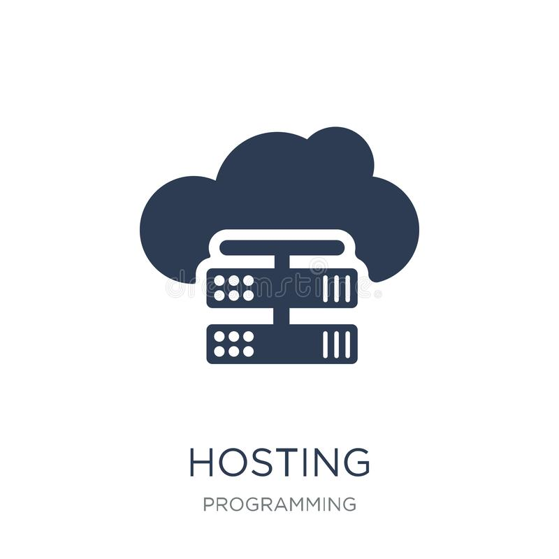 Hosting icon. Trendy flat vector Hosting icon on white background from Programming collection. Vector illustration can be use for web and mobile, eps10 vector illustration