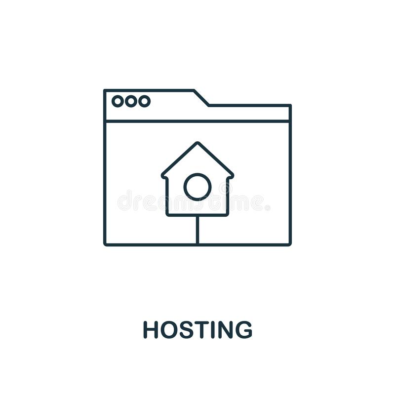 Hosting outline icon. Simple design from web development icon collection. UI and UX. Pixel perfect hosting icon. For web design, a. Hosting outline icon. Premium royalty free illustration
