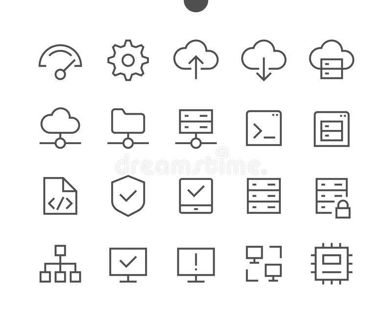 Hosting Pixel Perfect Well-crafted Vector Thin Line Icons 48x48 Ready for 24x24 Grid for Web Graphics and Apps with vector illustration