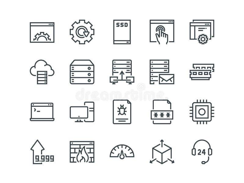 hosting Reeks overzichts vectorpictogrammen Omvat zoals de Schijf, het Controlebord, het Verkeer, de Firewall en andere van SSD e royalty-vrije illustratie