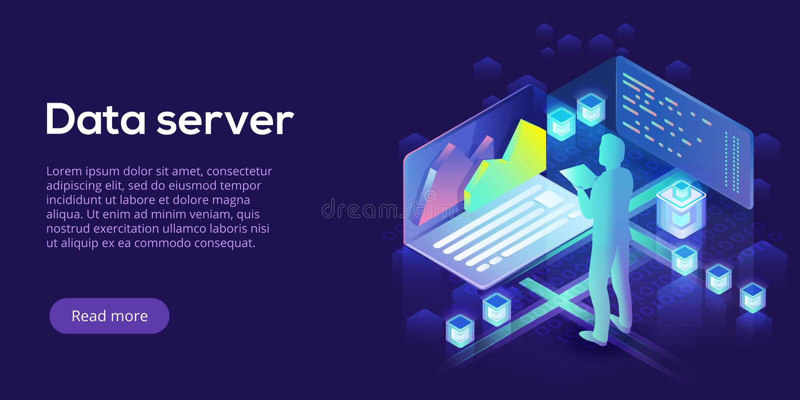 Hosting server isometric vector illustration. Abstract 3d datacenter or data center room background. Network mainframe. Hosting server isometric vector royalty free illustration