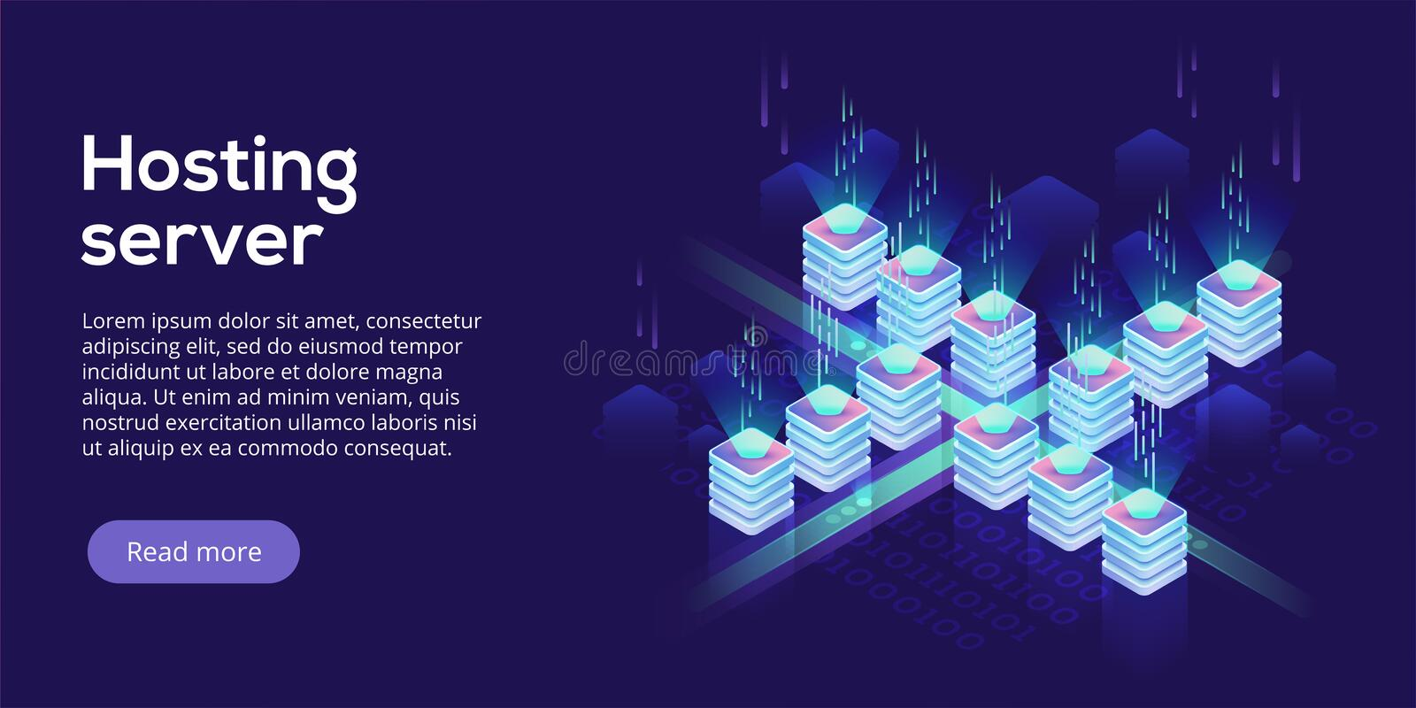Hosting server isometric vector illustration. Abstract 3d datacenter or data center room background. Network mainframe royalty free illustration