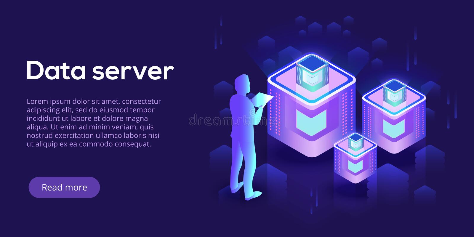 Hosting server isometric vector illustration. Abstract datacenter or blockchain with man background. Network mainframe royalty free illustration