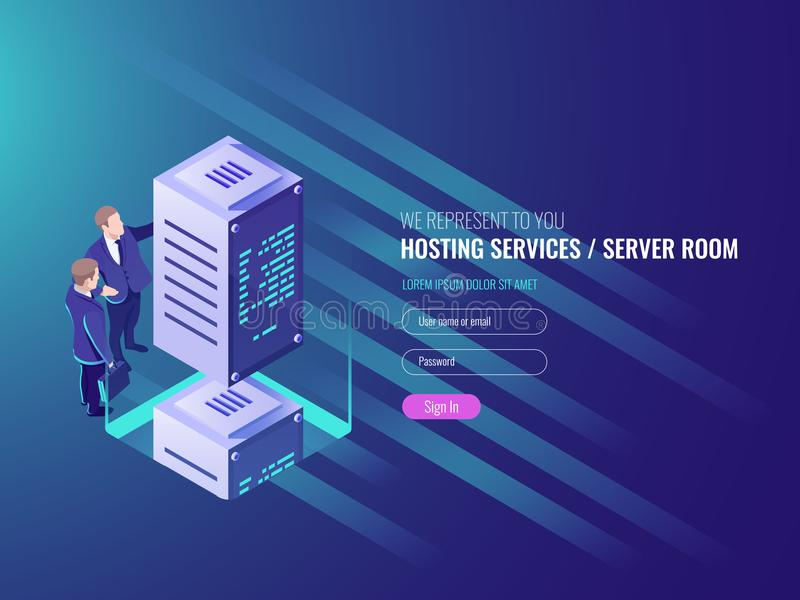 Hosting services concept, cryptocurrency and blockchain isometric composition, data center, big data processing mining. Crypto farm, energy station of future IT stock illustration