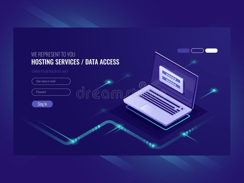 Hosting services, user authorization form, login password, registration, laptop, network data access isometric vector vector illustration