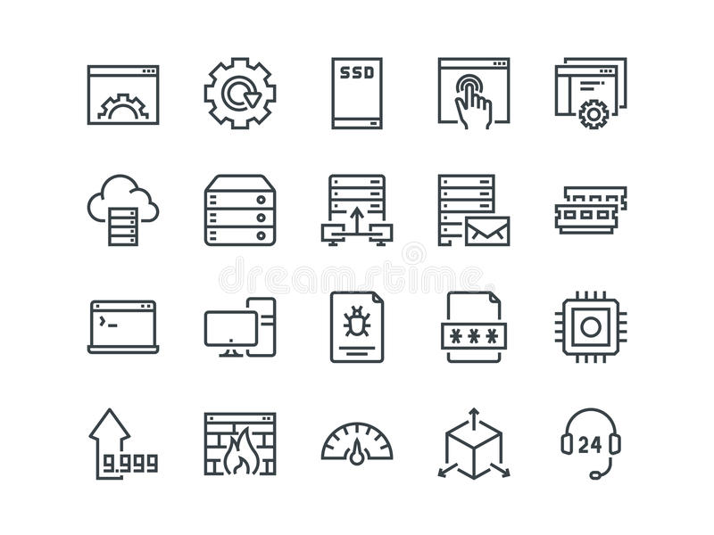 Hosting. Set of outline vector icons. Includes such as SSD Disk, Control Panel, Traffic, Firewall and other. Editable royalty free illustration