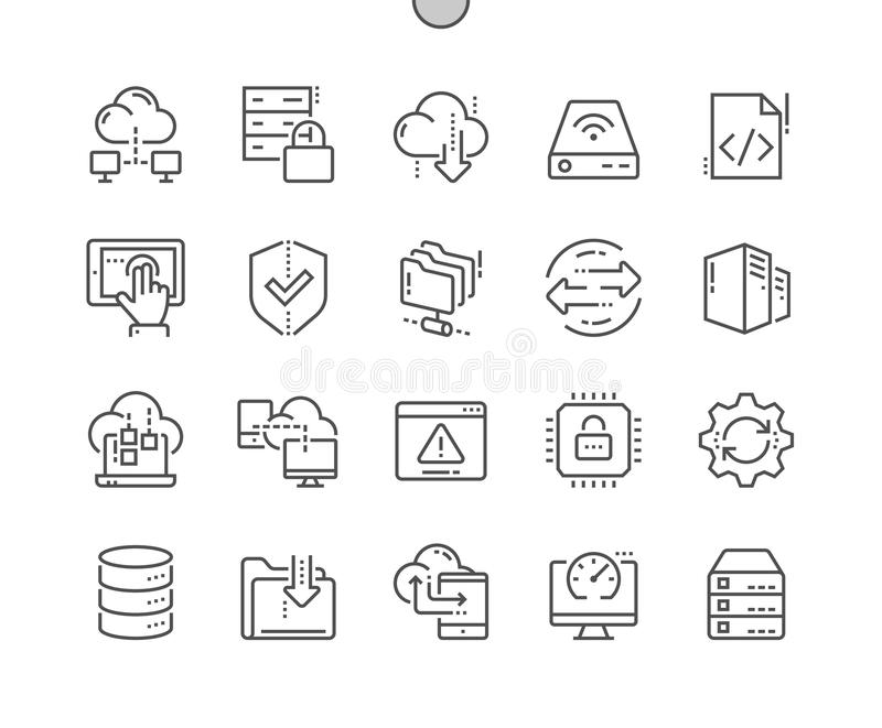 Hosting Well-crafted Pixel Perfect Vector Thin Line Icons 30 2x Grid for Web Graphics and Apps. Simple Minimal Pictogram. Hosting Pixel Perfect Well-crafted stock illustration