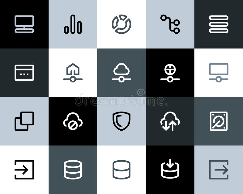 Hosting and wireless network icons. Flat vector illustration