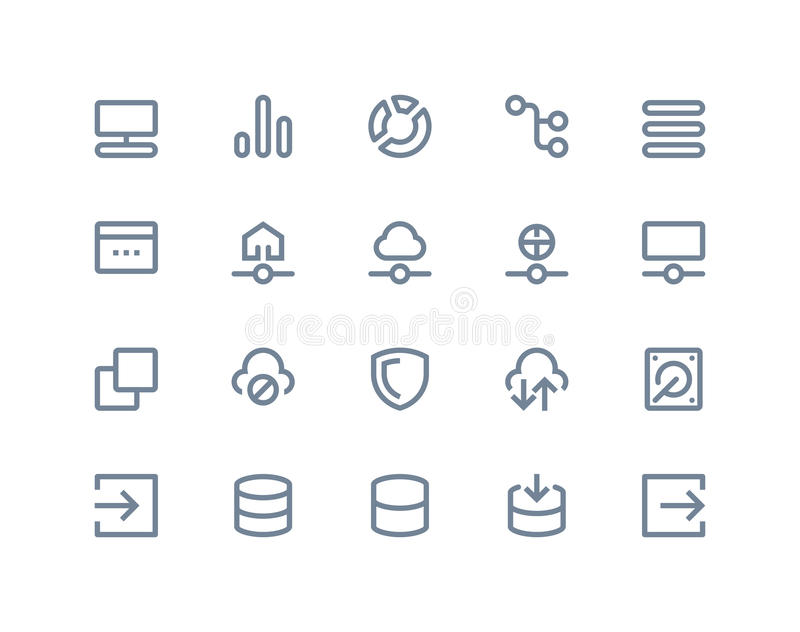 Hosting and wireless network icons. Line series vector illustration