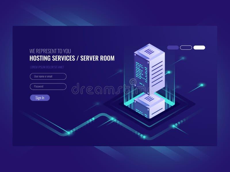 Hostingdienstleistungen, Rechenzentrum, Serverserverraum, Schablone der Seite auf sometric Vektor des Informationstechnologie-The vektor abbildung