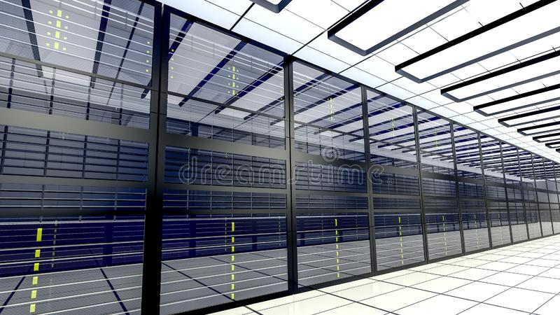 Hostingdienstleistungen Server im datacenter 3d ?bertragen stock abbildung