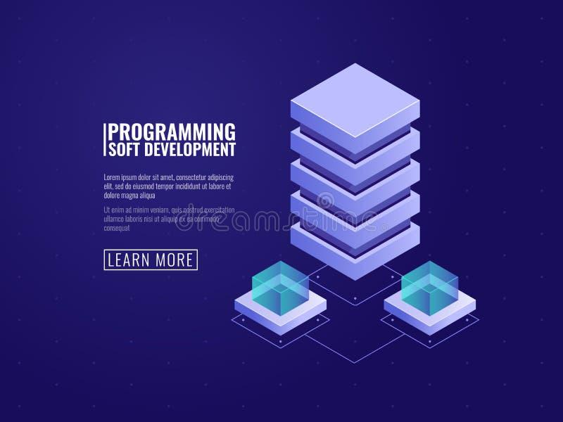 Hostingservice-Ikone, Serverraum, Datenbank und datacenter Konzept, Wolkenspeicher und Datenverschlüsselungsprozeß isometrisch stock abbildung