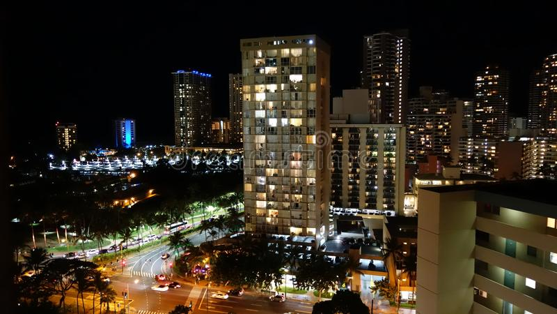 Hotéis de Honolulu em Waikiki fotografia de stock