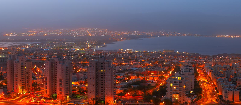 Hotéis de recurso em Eilat foto de stock royalty free