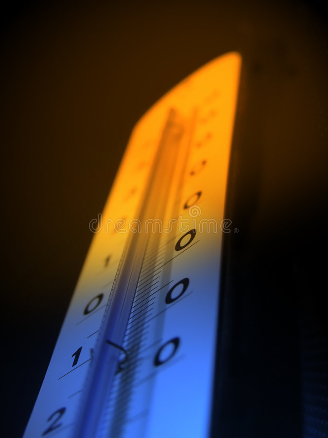 Hot. Macro shot of a thermometer showing cold/heat colors royalty free stock photos