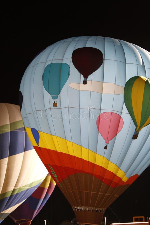 Hot air ballon at night stock photo